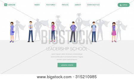 Leadership School Landing Page Vector Template. Training, Seminars For Leaders Development Website,