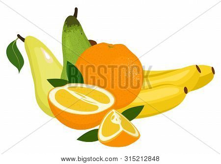Oranges, Pear And Bananas. Raster Illustration On A White Background