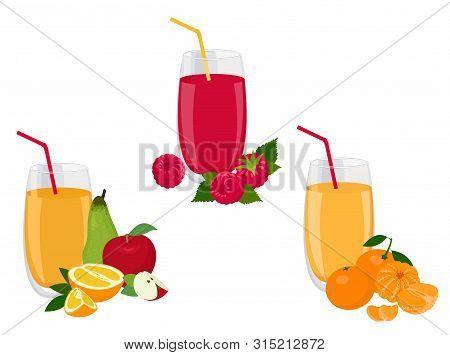 Berry And Fruit Smoothie, Healthy Juicy Vitamin Drink Diet Or Vegan Food Concept, Fresh Vitamins. Ra