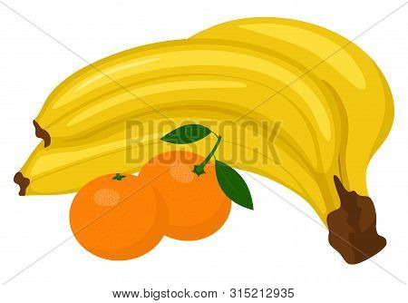 Bunch Of Bananas And Tangerine Or Clementine With Green Leaf Isolated On White Background. Raster Il
