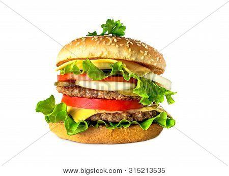 Fresh Double Big Juicy Burger Isolated On White Background.