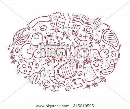 Carnivore Diet Doodle. Meet, Cheese, Eggs, Fish, Steak, Rosemary. Healthy Food. Be Carnivore. Diet L