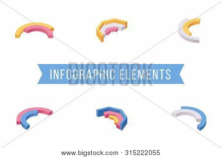 Infographic Elements Isometric Vector Illustrations Set. Various Multi Level Donut Chart Slices, Cir