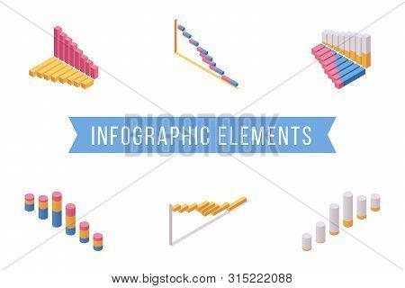 Bar Chart Elements Isometric Illustrations Set. Various Multi Level Histogram Graphs, Economic Diagr
