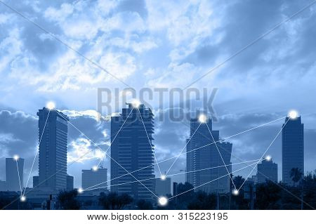Communication Network Concept 5g Smart City On Blue Background. Modern City With Wireless Network Co