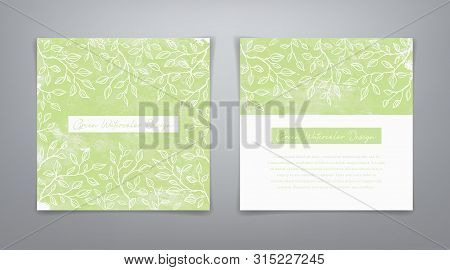 Frame With Leaves. Set Vector Green Watercolor Templates. Vector Green Backgrounds. Green Watercolor