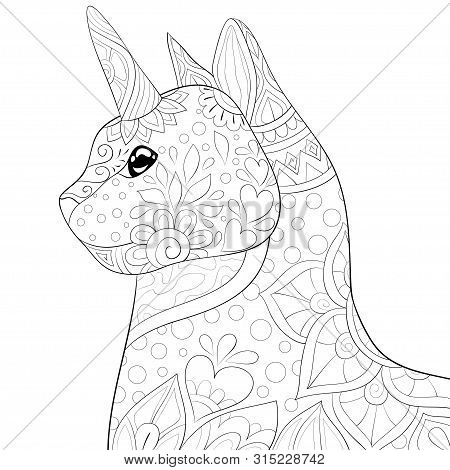 A Cute Uni-cat With Ornaments Image For Relaxing Activity.coloring Book,page For Adults.zen Art Styl
