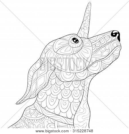 A Cute Uni-dog With Ornaments Image For Relaxing Activity.coloring Book,page For Adults.zen Art Styl