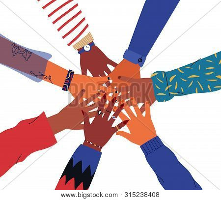 Friends High Five Concept. Illustration Of People Hands Together For Unity Or Diversity Teamwork. Is
