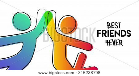 Happy Friendship Day Greeting Card. Friends Doing High Five For Special Event Celebration In Simple