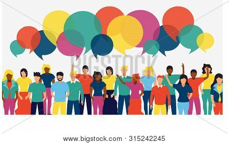 Social People Group With Colorful Chat Bubbles And Diverse Team. Internet Communication Or Network C