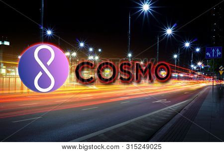 Concept Of Cosmo Coin Moving Fast On The Road, A Cryptocurrency Blockchain Platform , Digital Money