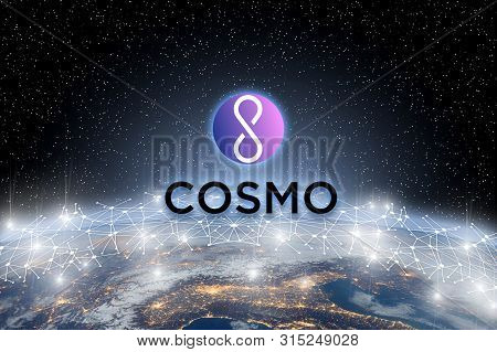 Concept Of Cosmo Coin Floating Over World Network, A Cryptocurrency Blockchain Platform , Digital Mo