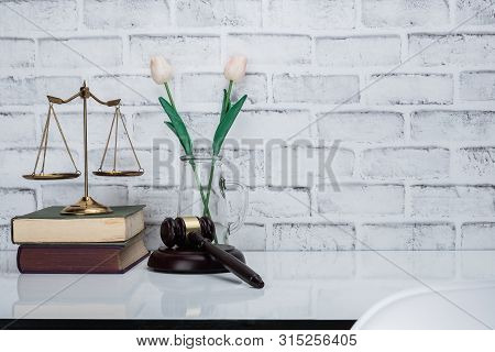 Office Lawyer Desk With Gavel,scale,justice And Book. Lawyer Desk With Copy Space.