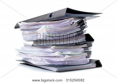 Stack Of Document Paper Isolated On White Background, With Selection Path.