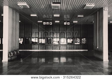 Large Town Building Interior, In Black And White.