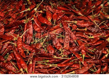 Bright Food's Background Image Full Of Many Countless Dry Red Chili Peppers
