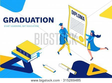 Graduation Isometric Illustration, 3d Landing Page With Graduates Holding Diploma, Cartoon Character