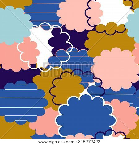 Colorful Groovy Clouds In A Seamless Pattern Design