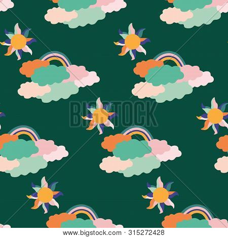 Colorful Groovy  Clouds, Sun And Rainbow, In A Seamless Pattern Design
