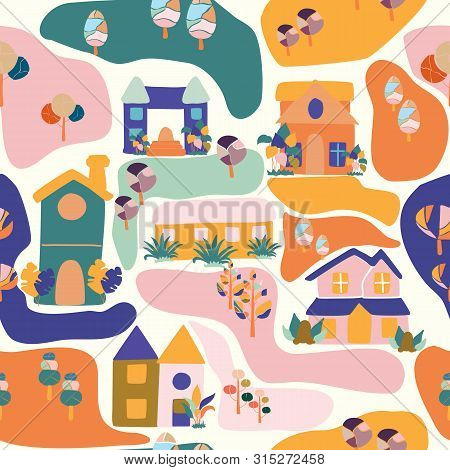 Colorful Groovy Houses And Trees, In A Seamless Pattern Design