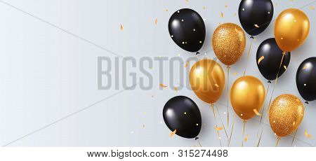 Celebration, Festival White Background With Helium Balloons. Greeting Banner Or Poster With Gold And