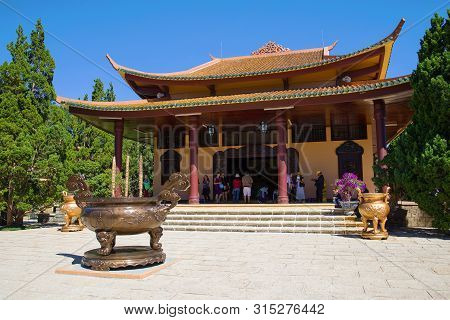Da Lat, Vietnam - December 28, 2015: At One Of The Buddhist Temples Of The Thien Vien Truc Lam Monas
