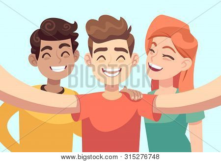 Selfie With Friends. Friendly Smiling Teenagers Taking Group Photo Portrait. Happy People Vector Car