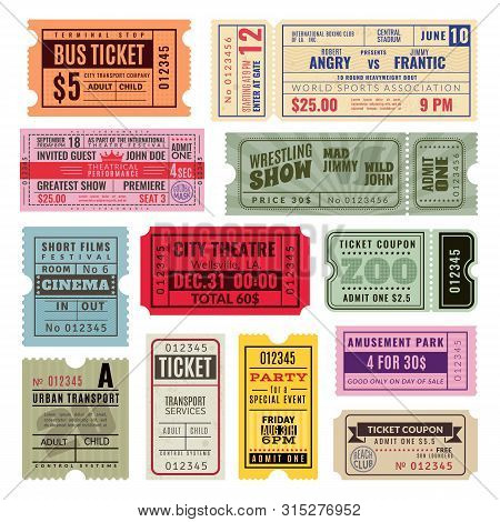 Vintage Tickets. Hand Ticket Of Circus, Cinema And Concert Party. Old Paper Voucher, Travelling Crui