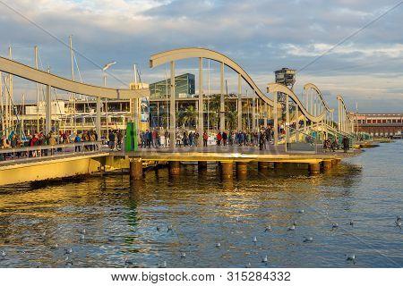 Barcelona, Spain- 10 November 2014: Rambla De Mar, Part Of La Rambla, Wooden Walkway Across The Harb