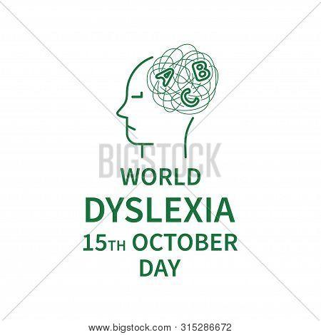 World Dyslexia Day Banner In Linear Stule. Line Logo Of Dyslexia Day. Vector Illustration. Minimalis
