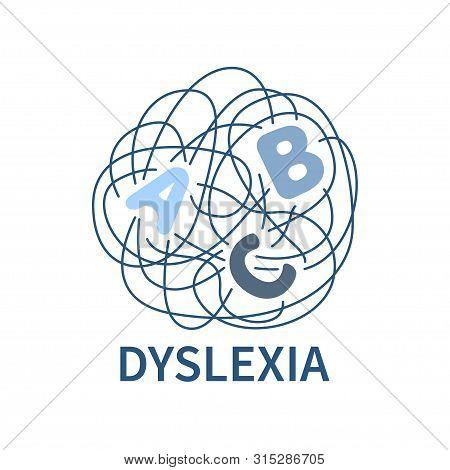 Dyslexia Banner. Line Logo For Dyslexia Disorder. Vector Illustration. Minimalistic Line Tangled Wor