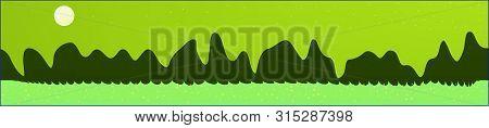 Lime Sky, And Mountains Landscape. Plain Horizontal Background Illustration. Trendy Fairy Tale Plain