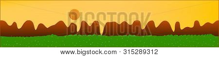 Yellow Sky, And Mountains Landscape. Abstract, Horizontal Texture Background Picture. Colorful Skina