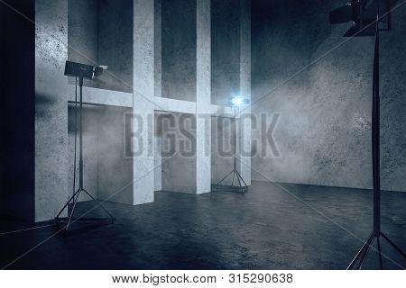 Grey Concrete Interior With Copyspace