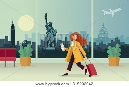 The Girl With The Suitcase At The Airport. Against The Background Of An Abstract Panorama Of The U.s