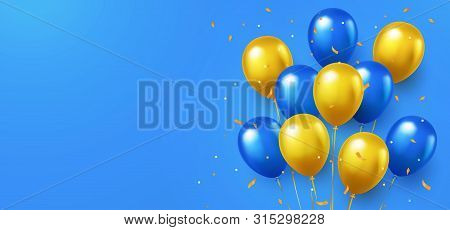 Formal Greeting Design In National Blue And Yellow Colors With Realistic Flying Helium Balloons. Cel