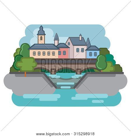European Town With Bridge And Canal, Vector Illustration