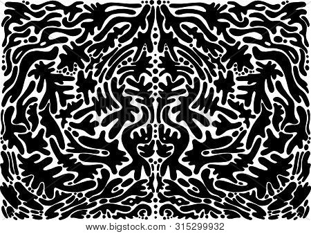 Black And White Psychedelic Abstract Shamanic Ornament. Fantasy Bohemian Abstract Background. Vector