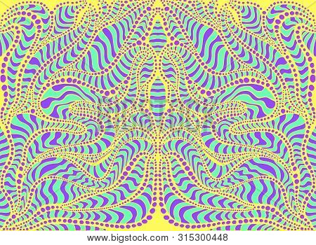 Psychedelic Tribal Colorful Surreal Doodle Pattern. Hippie Abstract Trippy Pattern, Maze Of Ornament