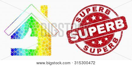 Dot Spectral Best House Mosaic Pictogram And Superb Seal Stamp. Red Vector Round Distress Stamp With