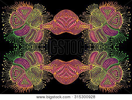 Creative Amazing Psychedelic Trippy Colorful Mirror Ornament, Bright Gradient Colors, Isolated On Bl