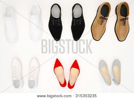 Set Of Women's And Men's Shoes Top View. Beige And Red Female Shoes. White  Women's Sneakers.  Black