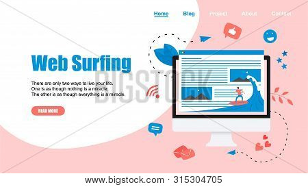 Webpage Template. Surfer surfing a wave web page vector illustration. Web page surfing concept.. poster