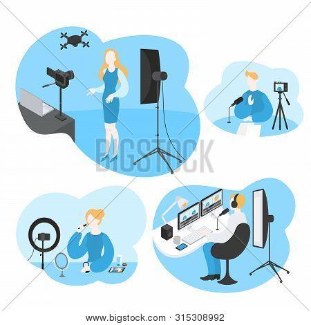 Professional Digital Software For Video Blogger. Cartoon Influencer Filming Media Content. Movie Edi