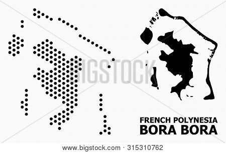 Pixel Map Of Bora-bora Composition And Solid Illustration. Vector Map Of Bora-bora Composition Of Sp
