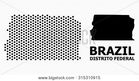 Dot Map Of Brazil - Distrito Federal Composition And Solid Illustration. Vector Map Of Brazil - Dist