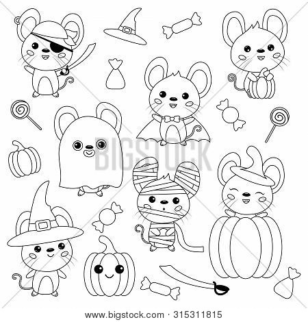 Vector Set Of Halloween Mouse. Rats Dressed Up In Costumes, Witch, Pirate, Ghost, Vampire And Mummy.