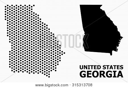 Dotted Map Of Georgia State Composition And Solid Illustration. Vector Map Of Georgia State Composit