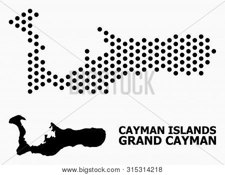 Dot Map Of Grand Cayman Island Composition And Solid Illustration. Vector Map Of Grand Cayman Island